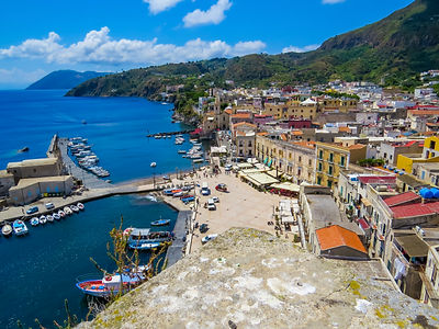 Aerial view of Lipari, Aeolian Islands,