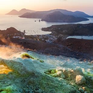 Vista dall'isola di Vulcano alle isole Eolie