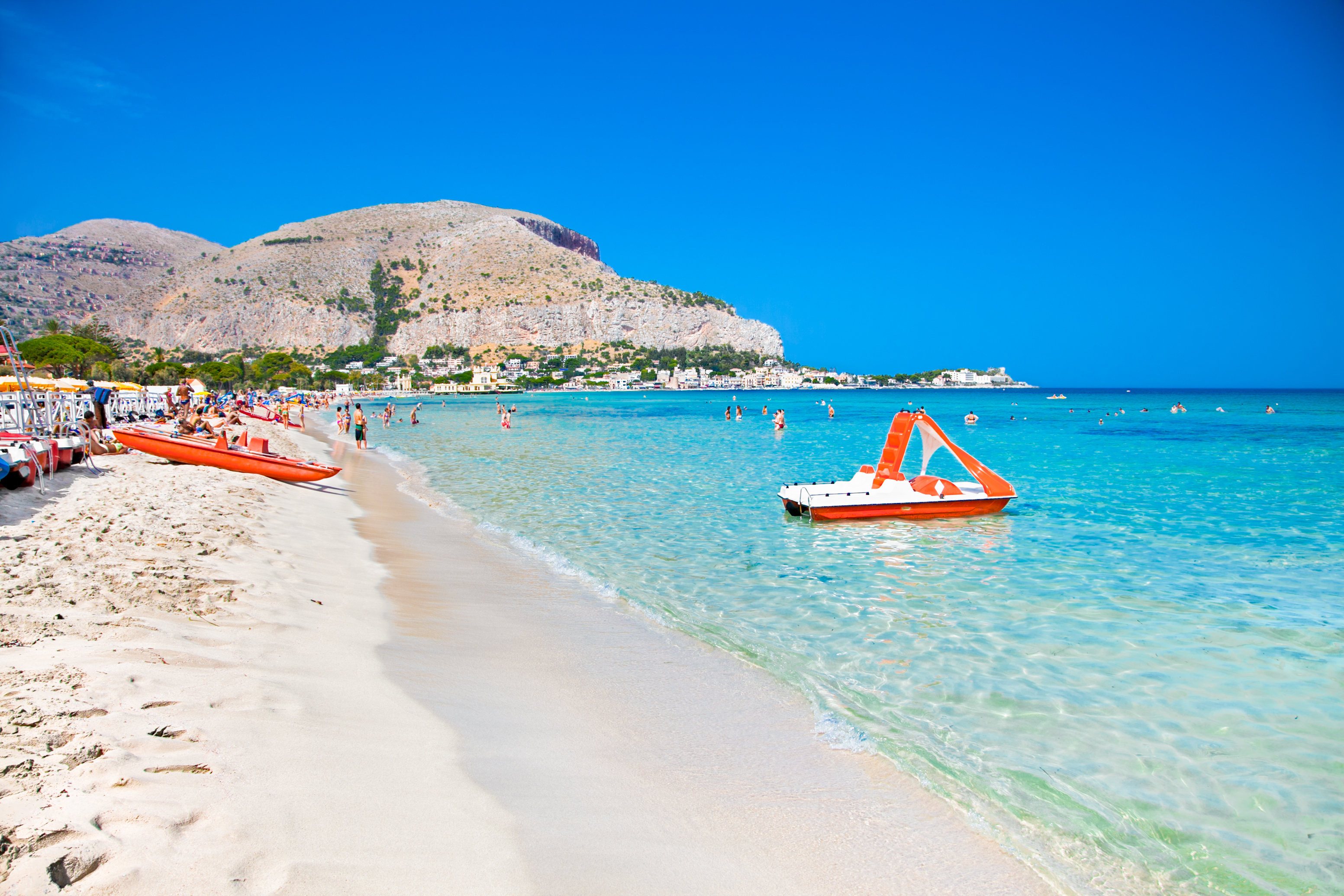 Mondello white sand beach in Palermo, Si
