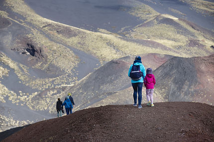 People Hiking, Etna Crater And Volcanic