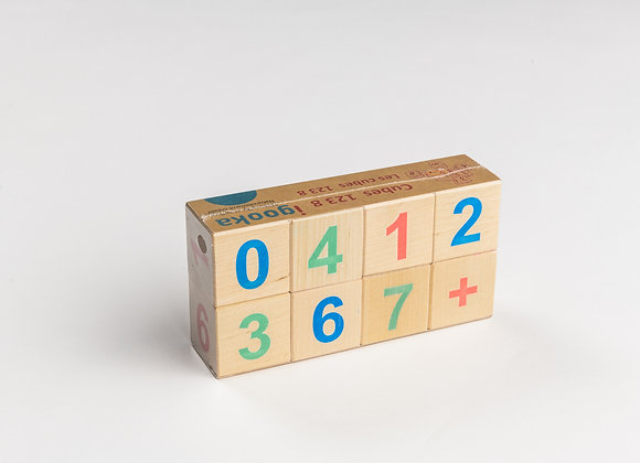 8 wooden counting cubes