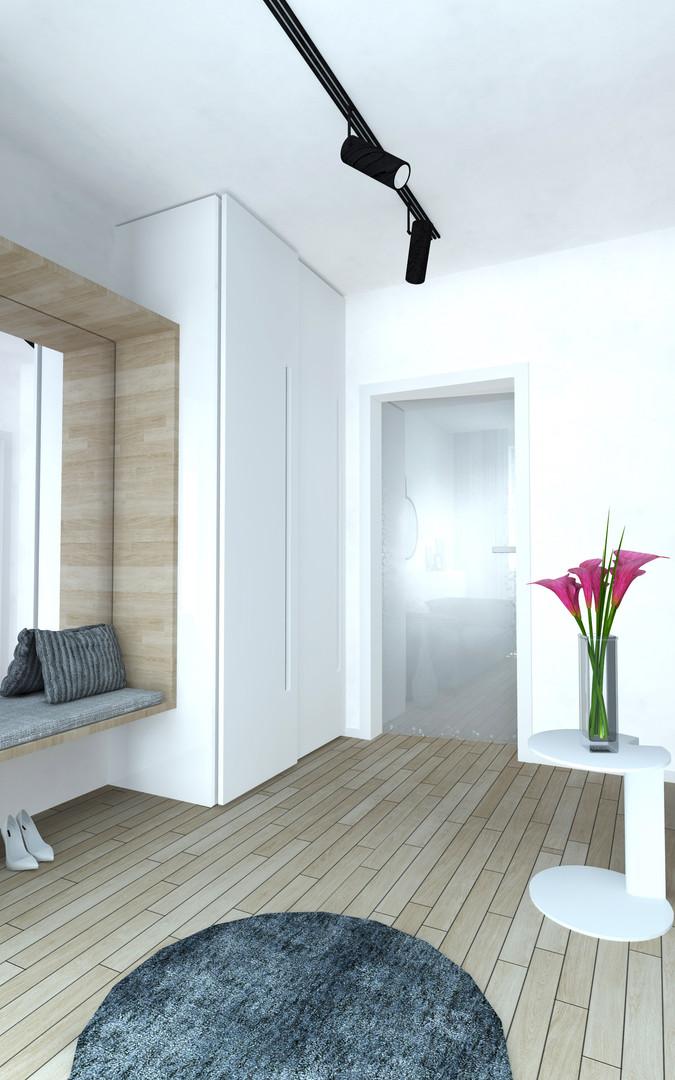 Návrh zařízení zádveří bytové jednotky.