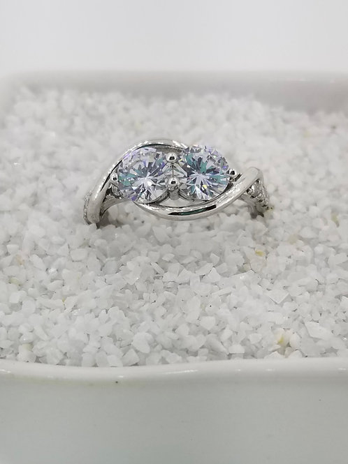 Sterling Silver and CZ Two Stone Ring