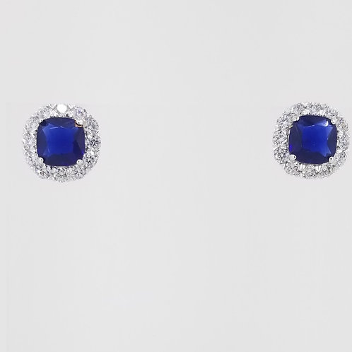 Sterling Silver Synthetic Blue Sapphire and CZ Stud Earrings