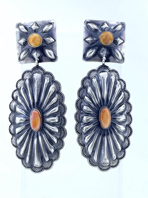 Coral Concho Statment Earrings