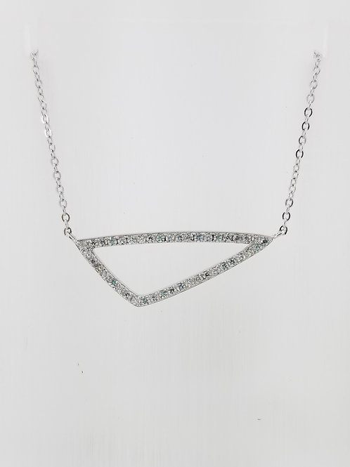 Sterling Silver and CZ Triangular Necklace