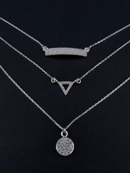 Sterling Silver and CZ Three Tiered Necklace