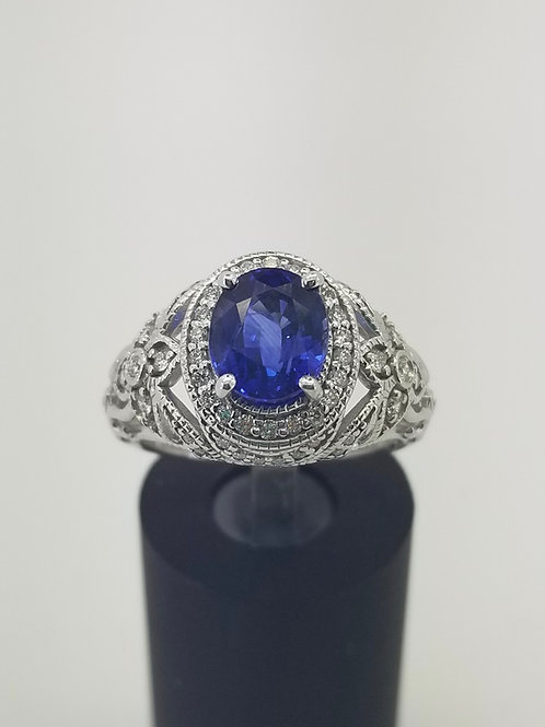 14K Sapphire and Diamond Filigree Halo Ring