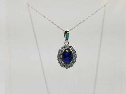 14K White Gold Sapphire and Diamond Halo Necklace