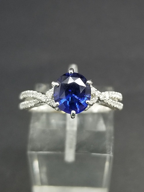14K White Gold Blue Sapphire Diamond Micro Pavé Ring