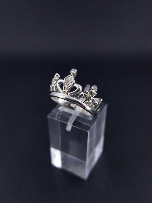 Sterling Silver and CZ Crown Ring