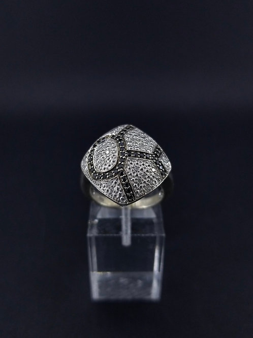 Sterling Silver and White/Black Diamond Abstract Ring