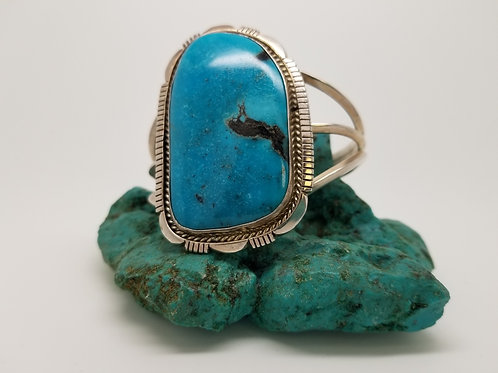 Handmade Navajo Sterling Silver Turquoise Cuff Bracelet