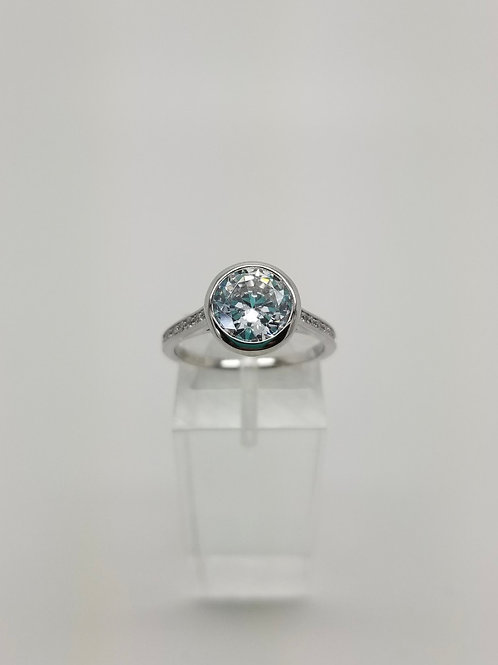 Sterling Silver and CZ Bezel Set Engagement Ring