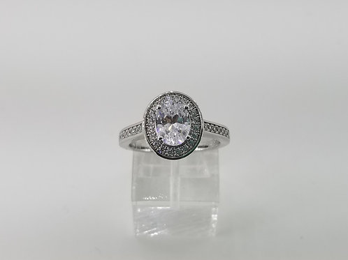 Sterling Silver and Oval CZ Halo Engagement Ring