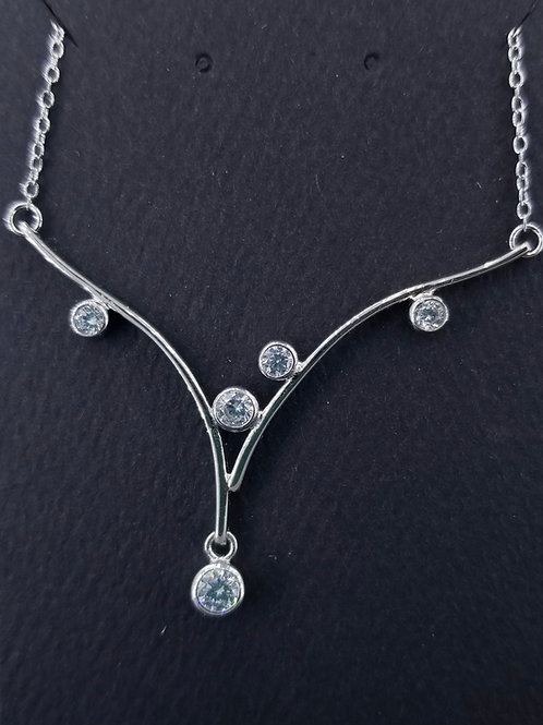 Sterling Silver and Cubic Zirconia Branch Necklace