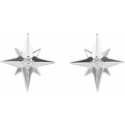 .03 CTW Diamond Star Earrings #86749