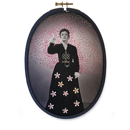 Edith Piaf Studio Harcourt imprimée sur coton bio rebrodée