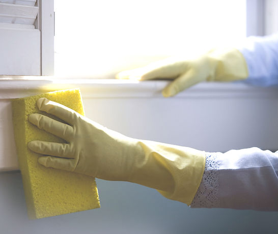 Lady with gloves cleaning