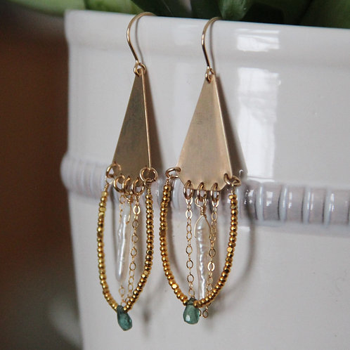 GF Emerald and Pearl Chandelier Earrings