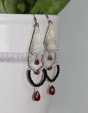 Black Spinel, Pearl, and Garnet Chandelier Earrings