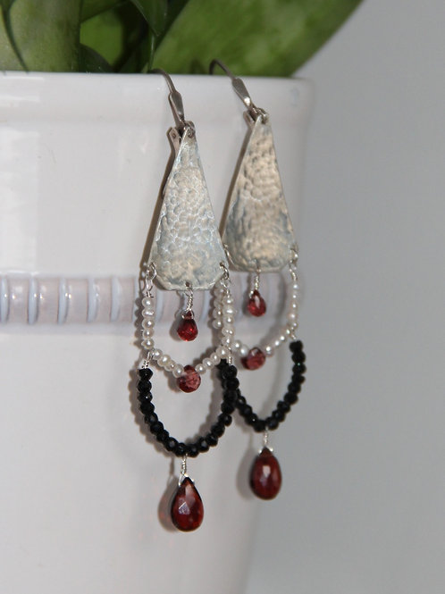 Black Spinel, Pearl, and Garnet Chandelier Earrings