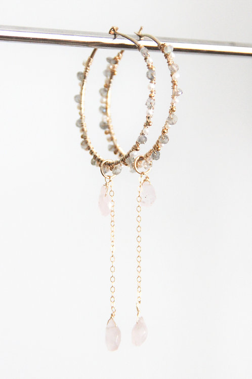 Labradorite, Pearl, Rose Quartz Hoop Earrings