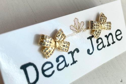 Golden Ribbon Stud Earrings