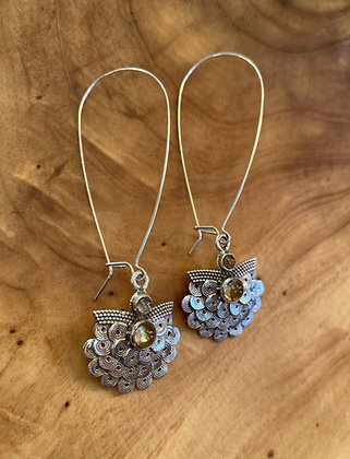 Sterling Silver and Citrine Art Nouveau Dangle Earrings