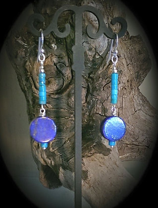 Sterling Silver Turquoise and Lapis Dangles
