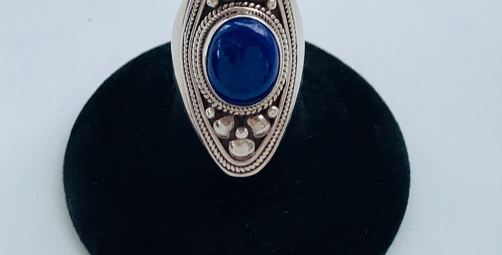 Large Oval Sterling Silver & Lapis Ring