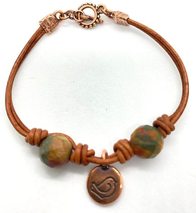 Red Creek Jasper with Copper Charm Bracelet