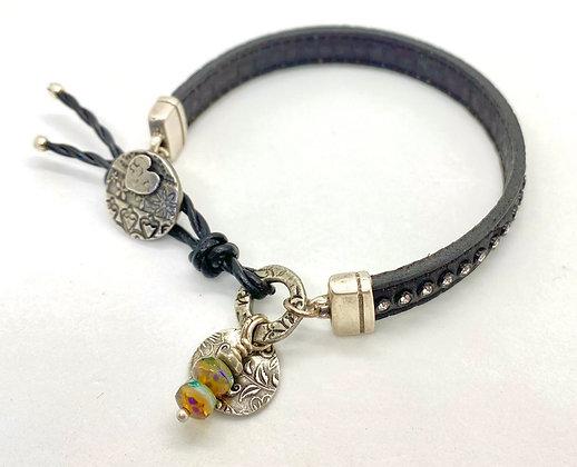 Swarovski Crystal Studded Leather Bracelet