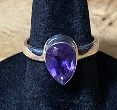 Amethyst Tear Drop Ring