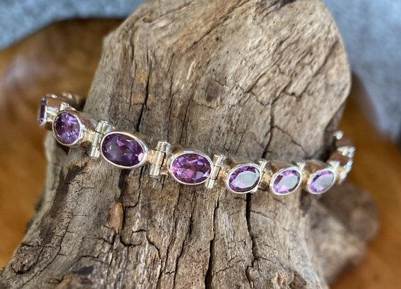 Regal Amethyst & Sterling Silver Bracelet