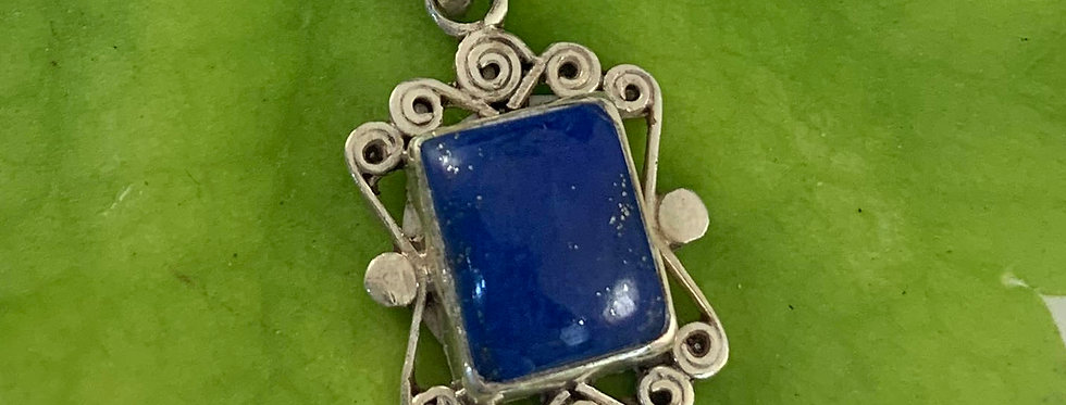 Lapis & Sterling Silver Pendant, Scrolled Square