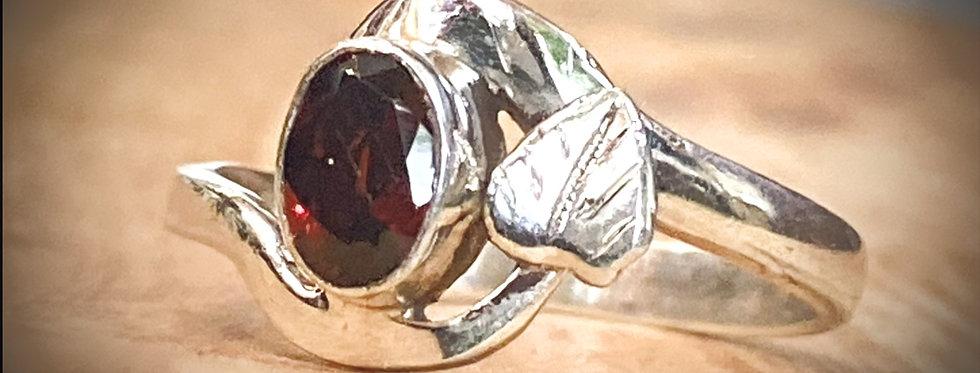 6x4mm Oval Garnet Bezel Set Sterling Silver Ring