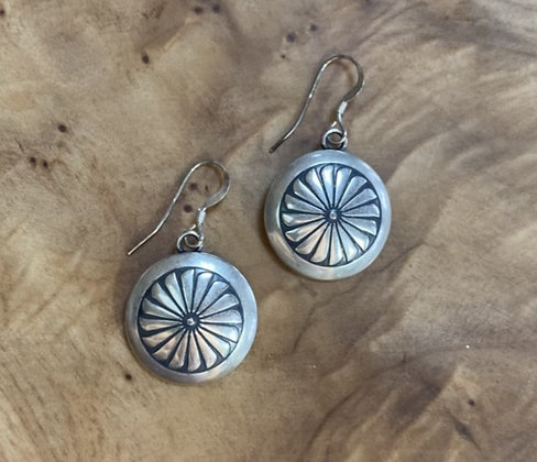 "Sterling Silver 3/4""Flower Stamp Disk Earring w Sterling Silver Ear Wire"