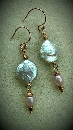 Coin-Pearl Earrings, 14kt Rose gf Wire