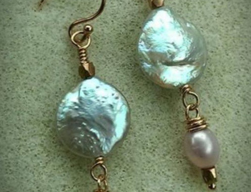 14kt Rose gf Wire and Coin-Pearl Earrings