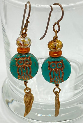Copper & Turquoise Owl Dangles