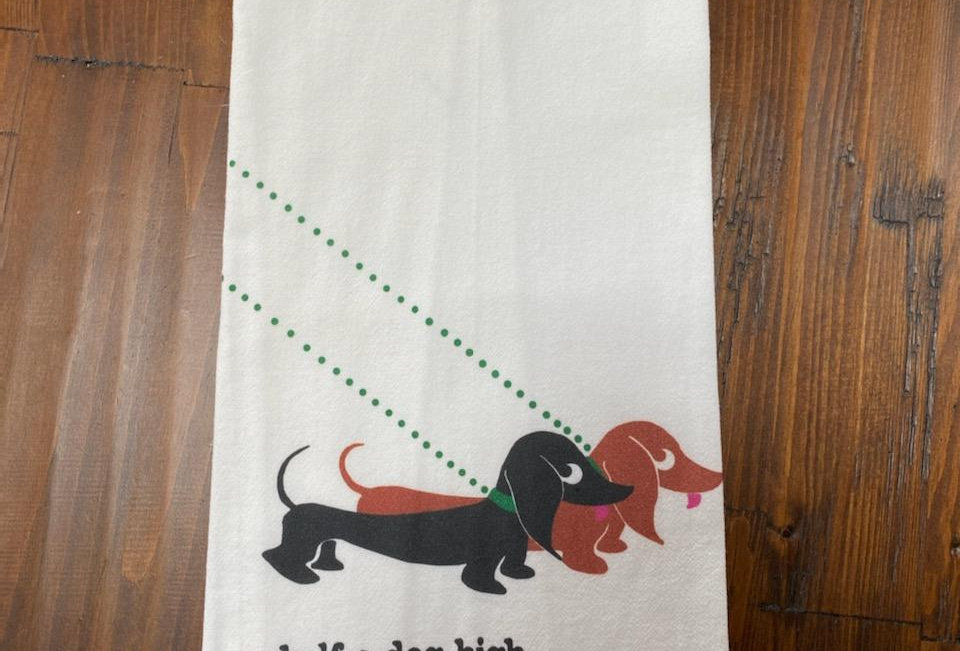 Double Dachshund - Original Art Dishtowel