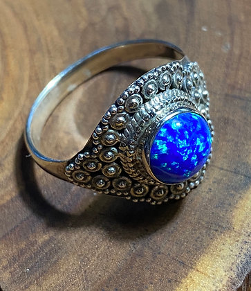 Cultured Opal and Sterling Silver Ring