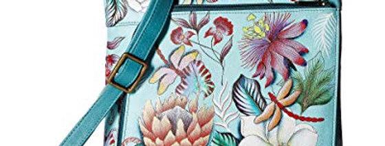 Jardin Bleu Medium Crossbody With Double Zip Pockets, by Anuschka
