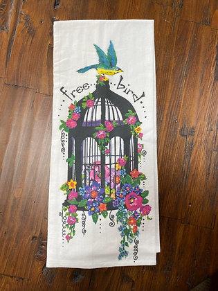 Floral Birdcage - Original Art Dishtowel