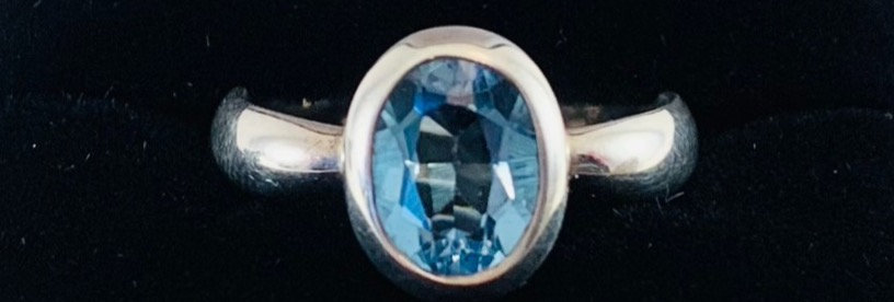 Oval Blue Topaz & Sterling Silver Ring