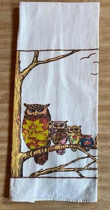 Owl Family - Original Art Dishtowel