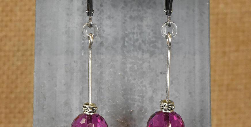 Long Drop Fuchsia Earrings