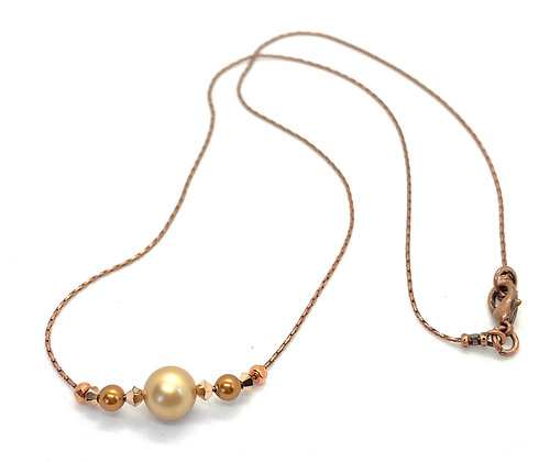 Swarovski Gold Pearl Necklace