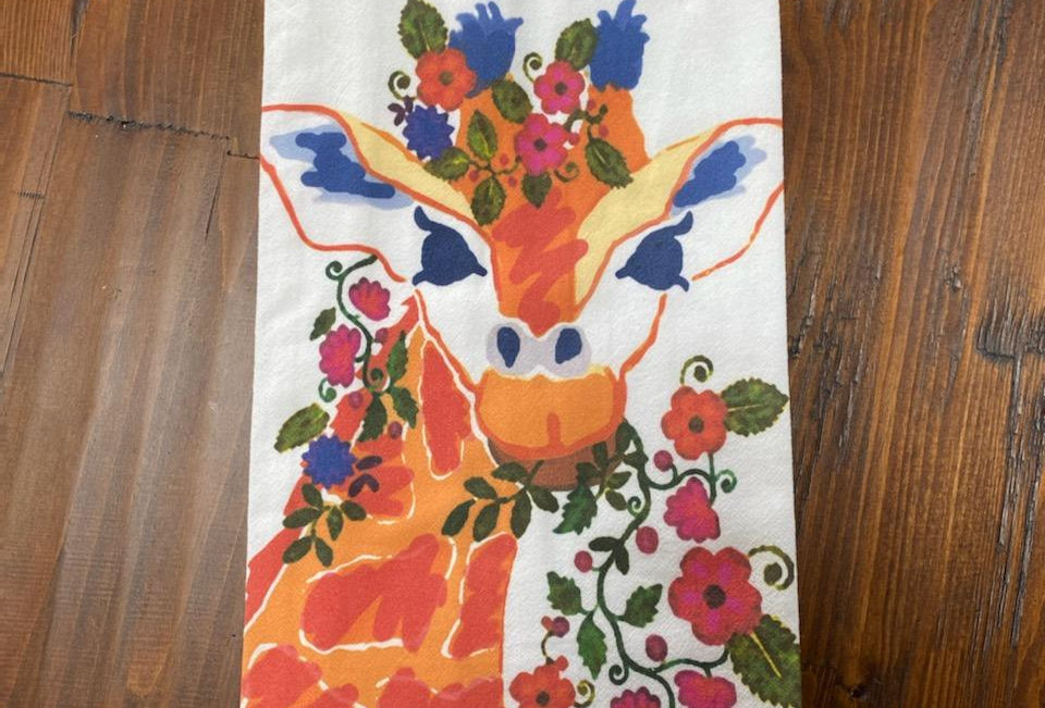 Floral Giraffe - Original Art Dishtowel